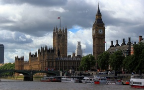 Picture England, London, Big Ben, promenade, clock tower, the river Thames, pleasure steamers, Westminster bridge
