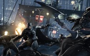 Picture winter, Batman, battle, fight, Batman Arkham Origins, batarang