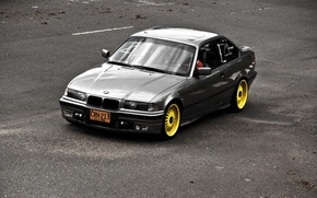 Picture Road, BMW, Yellow, oldschool, 3 series, E36