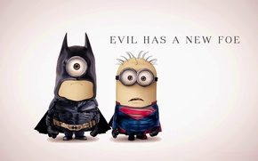 Picture fantasy, Batman, Superman, funny, film, superhero, Minions, Minion, parody, costumes, evil has a new foe