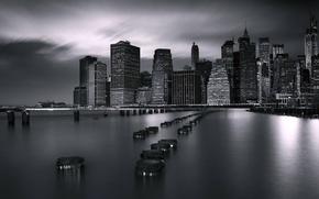 Picture night, bridge, the ocean, New York, Brooklyn, architecture, Doc