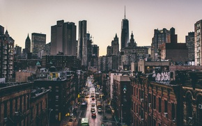 Picture cars, movement, Manhattan, trucks, OWTC, New York, 1WTC, One World Trade Center, street, United States, ...