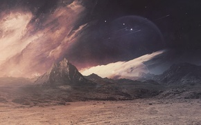 Picture space, mountains, fantasy, planet, cosmos, imagination, planet