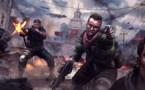 Wallpaper weapons, war, art, revolution, soldiers, the city, the rebels, Homefront: The Revolution