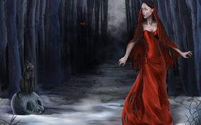 Picture forest, cat, eyes, girl, trees, night, fog, fear, figure, skull, dress, fantasy, art, Halloween, Halloween, ...