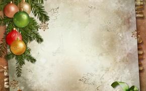 Picture decoration, holiday, balls, tree, Christmas, postcard, Merry Christmas, postcard, greeting