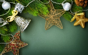 Picture balls, decoration, branches, green, background, holiday, toys, New year, bell, stars
