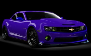 Picture Chevrolet Camaro, Rendering, on a black background, purple car, picture 3D