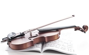 Picture notes, violin, notebook, bow