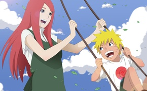 Picture the sky, Anime, Naruto, Naruto, smile, Sunny day, swing, Kushina Uzumaki, happiness, Uzumaki Naruto, Uzumaki …