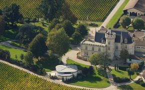 Picture castle, France, field, the vineyards, Bordelais, Château Pape Clément