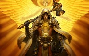 Picture light, angel, armor, hammer, Warrior