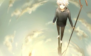 Wallpaper the sky, water, clouds, reflection, anime, art, cane, guy, rise of the guardians, rise of ...