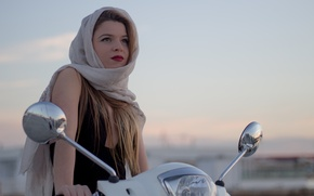 Picture girl, face, background, scarf, lipstick, shawl, scooter