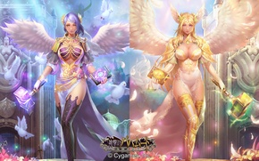 Picture birds, weapons, wings, Girls