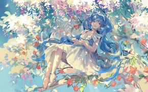 Wallpaper flowers, rar★, hatsune miku, art, smile, anime, tree, petals, girl, vocaloid