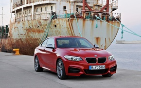Picture sea, red, ship, BMW, pier, rust, Coupe, 2013, 2 Series