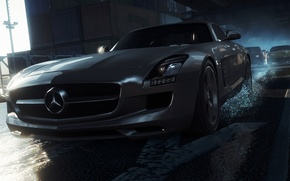 Picture race, lights, Mercedes-Benz, AMG, SLS, expensive, need for speed most wanted 2012