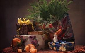 Wallpaper holiday, toys, spruce, gifts, snowman, Mandarin