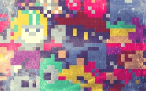 Picture mosaic, abstraction, squares, texture, colorful, abstraction