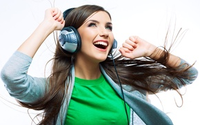 Picture girl, joy, music, headphones, delight