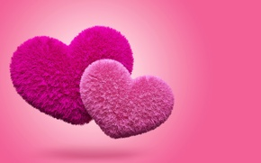 Picture hearts, love, fluffy, pink, hearts, fluffy