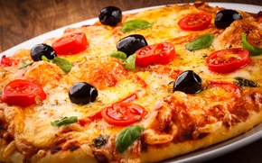Picture cheese, tomatoes, pizza, food, olives, chicken, dish