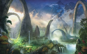 Picture greens, water, landscape, mountains, plants, art, helicopter, arch, waterfalls, fantasy world