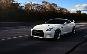 Picture GTR, Nissan, white, wheels, sports car, Nissan, frontside