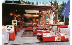 Picture trees, street, Japan, tables, lights, cafe, signs, canopy, art, kusanagi