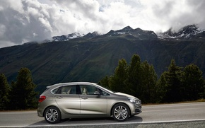 Picture road, grass, asphalt, clouds, snow, trees, mountains, BMW, BMW, 2 Series