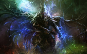 Picture magic, armor, Warrior, swords, burning eyes