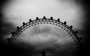 Wallpaper black and white, the sky, london eye