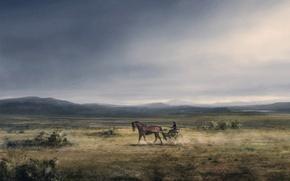 Wallpaper figure, Horse, plain, wagon