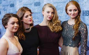 Picture actress, Game Of Thrones, Sophie Turner, Rose Leslie, Natalie Dormer, Maisie Williams