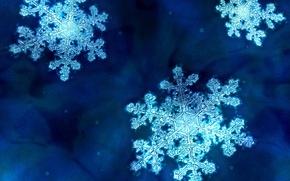 Wallpaper blue, Snowflakes