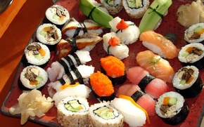 Picture greens, mushrooms, Japan, Japan, pepper, figure, placer, caviar, slices, sushi, rolls, seafood, wasabi, Japanese cuisine, ...