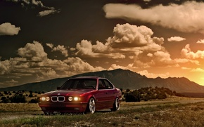 Picture the sky, the sun, clouds, sunset, mountains, BMW, BMW, red, Blik, red, front, E34, 5 …