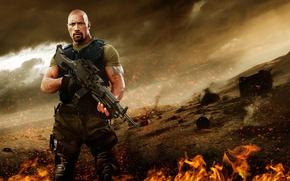 Picture cinema, fire, flame, gun, weapon, man, movie, tatoo, The Rock, Dwayne Johnson, film, Roadblock, M249, …