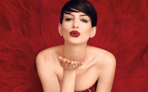 Picture makeup, dress, actress, brunette, hairstyle, photographer, in red, gesture, photoshoot, kiss, Anne Hathaway, Anne Hathaway, …
