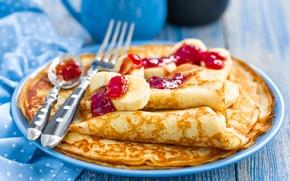 Picture banana, pancakes, cakes, pancakes, jam, bananas