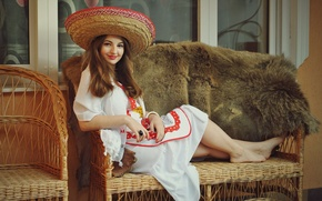 Picture girl, smile, ring, fur, brown hair, the couch, sombrero