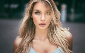 Picture girl, eyes, beauty, bokeh, hair, blonde, portrait, natural, Paulina, Martin Kuhn