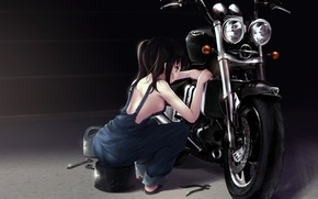 Wallpaper motorcycle, repairs, repair, black hair