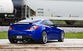 Picture Hyundai, Coupe, blue, tuning, train, Genesis