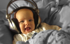 Picture music, child, headphones