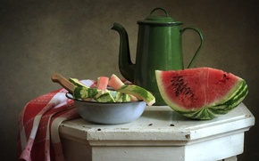 Picture watermelon, kettle, peel