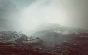 Picture misty, mountains, fog, man, peaks