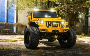 Picture Front, Forged, Yellow, Custom, Wrangler, Jeep, Wheels, Track, HydraSports, Amani
