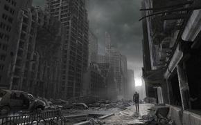 Picture people, building, destruction, disaster